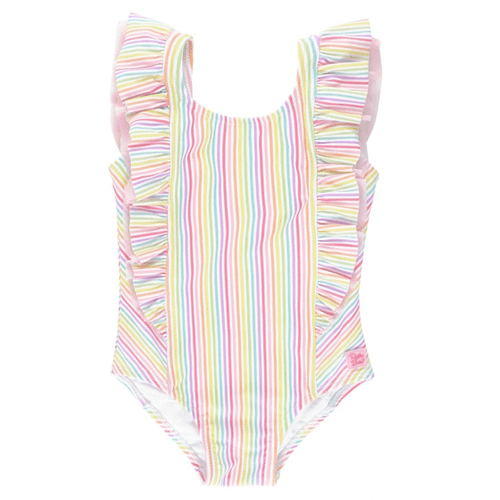 Infant & Toddler Girls' Ruffle Butts Waterfall One Piece Swimsuit -Rainbow Stripe