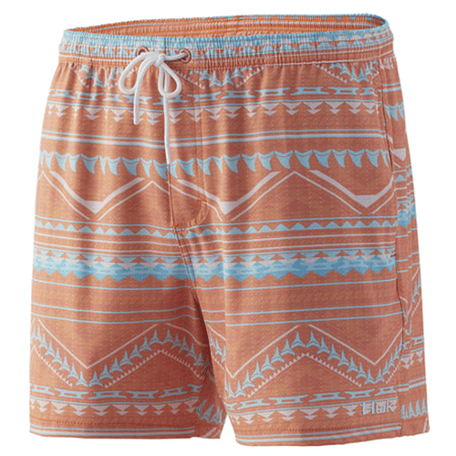 "Men's Huk 5.5"" Kai Volley Swim Short 634FusionCoral Front"