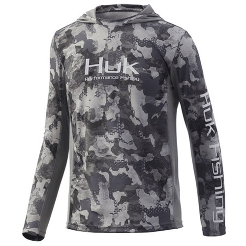 Boys' Huk Icon X Refraction Camo Hoodie - Storm Front