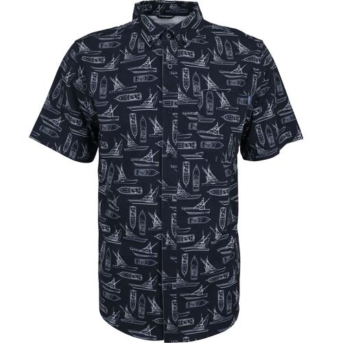 Men's Aftco Captain's Loung Short Sleeve Button Down Shirt Navy Front
