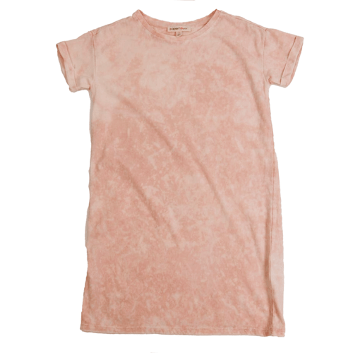 Girls' Paper Flower Washed Tee Dress Rose