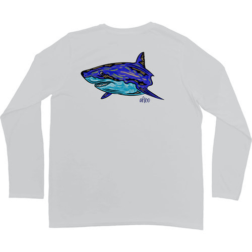Boys' Aftco Babyshark Long Sleeve Performance Shirt Silver Back