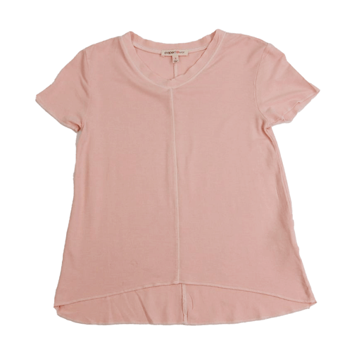 Girls' Paper Flower Washed V-Neck Top Rose