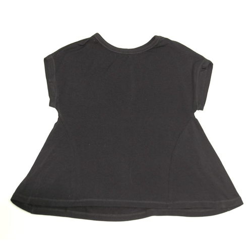 Girls' Paper Flower Dolman Yoke Back Blouse Black Front
