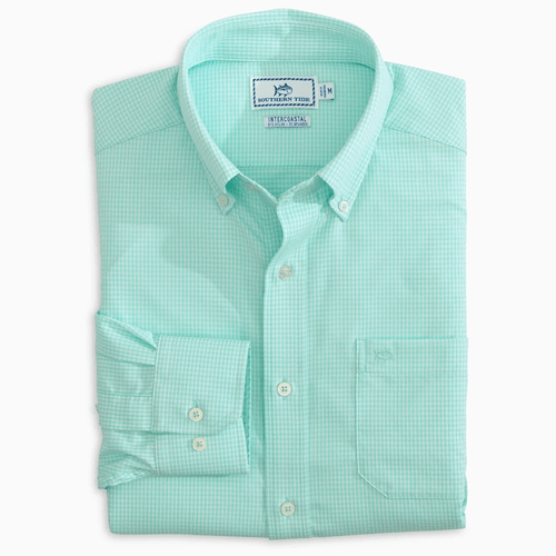 Men's Southern Tide Brrr Mini Gingham Button Down Folded