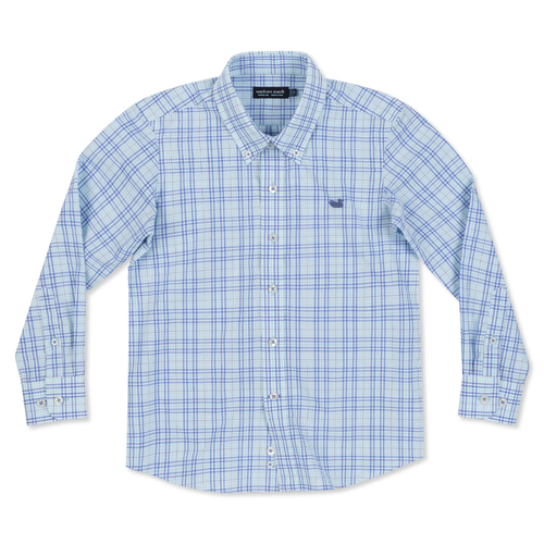Boys' Southern Marsh Charlotte Windowpane Dress Shirt Blue and Mint Front