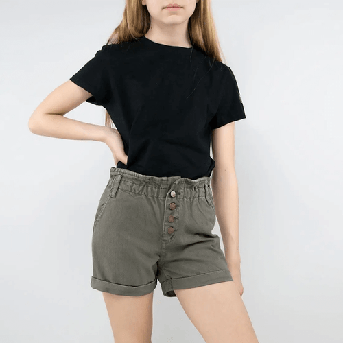 Girls' Tractr High Rise Paper Bag Shorts Olive