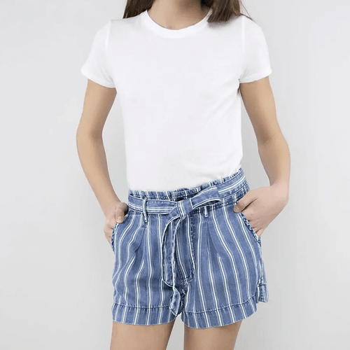 Girls' Tractr Self Tie Paper Bag Striped Shorts