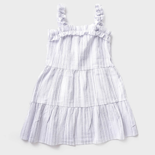 Girls' For All Seasons Striped Tiered Dress -Ivory & Navy
