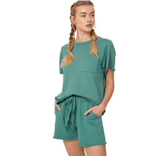 Women's Listicle French Terry Raw Edge Short Sleeve Top and Short Set - Sage Front
