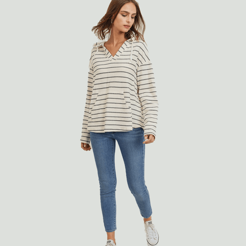 Women's Paper Crane Stripe Hoodie - Natural/Charcoal Front