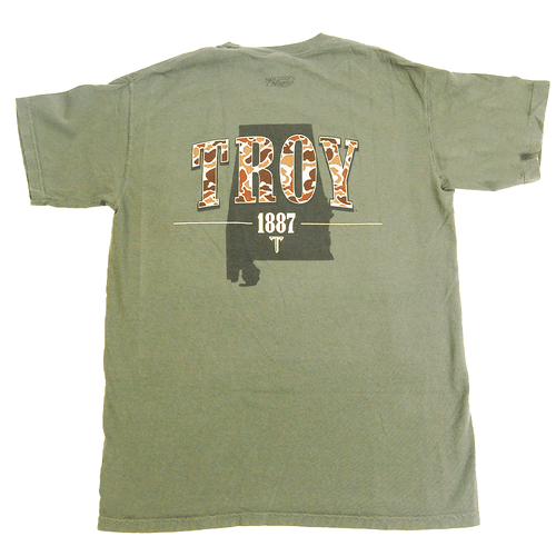 Men's Southern Collegiate Troy Old School Camo State Tee Back
