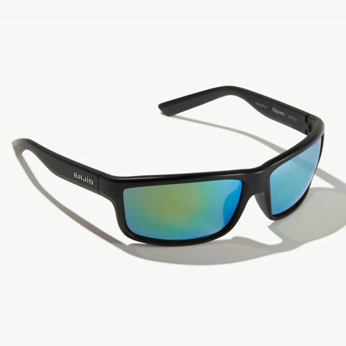 Bajio Nippers Black Matte Sunglasses - Green Mirror Plastic Lens