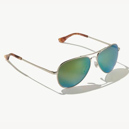 Bajio Soldado Silver Gloss Sunglasses -Green Mirror Plastic Lens