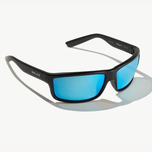 Bajio Nippers Black Matte Sunglasses - Trevally Blue Glass Lens