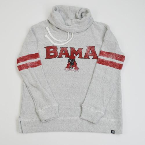 Women's 47 Brand Alabama Sequel Offsides Funnel neck Pullover - Grey Front