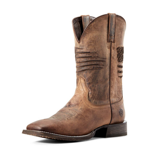Men's Ariat Circuit Patriot Western Boot - Weathered Tan Front
