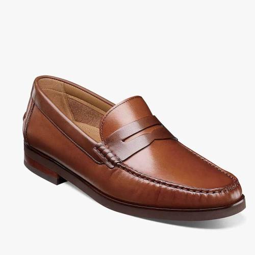 Men's Florsheim Berkley Flex Moc Toe Penny Loafer - Cognac Multi Front