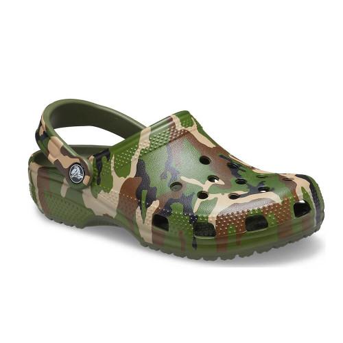 Men's Crocs Classic Printed Camo Clog Sandal Green Multi