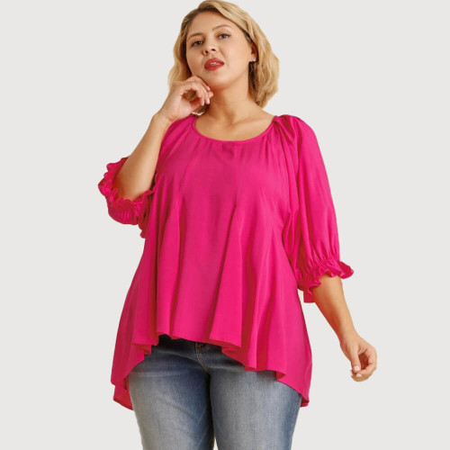 Women's Umgee High Low Pleated Plus Size Top Hot Pink