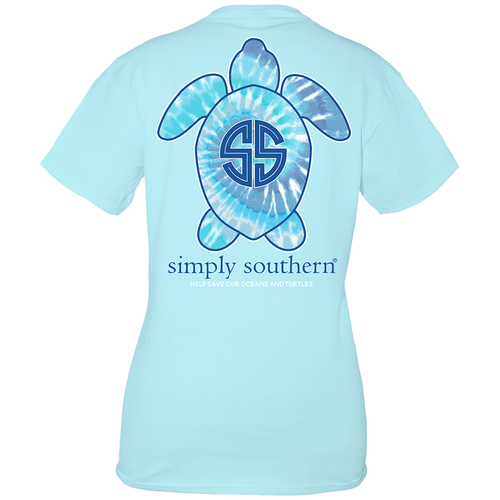 Girls' Simply Southern Short Sleeve Save the Turtles Tie Dye T-Shirt - back