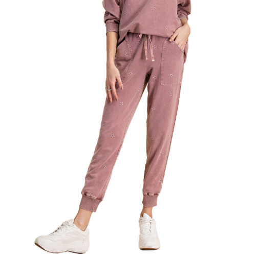 Women's Easel Star Print Joggers Faded Plum