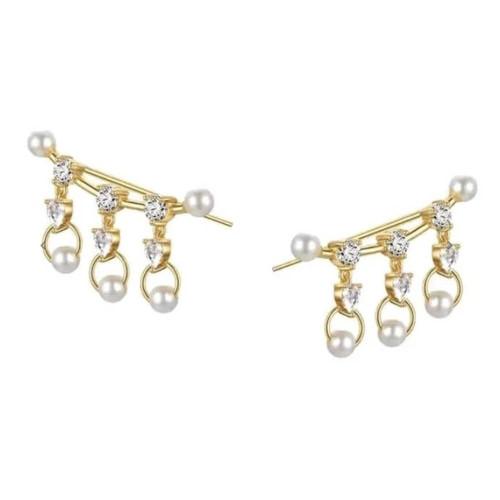 Sahira Gold Pearl Sparkle Ear Crawlers