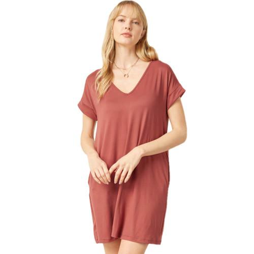 Women's Entro Solid V-Neck Pocket Dress Marsala