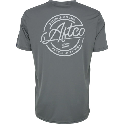 Men's Aftco Momentum Short Sleeve Performance Tee charcoal back