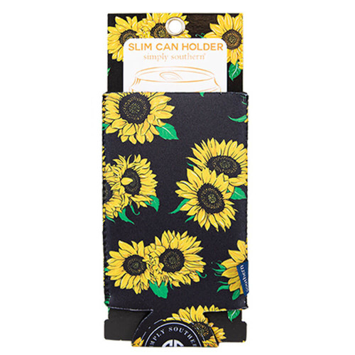 Simply Southern Slim Can Holder Koozie Sunflower Black