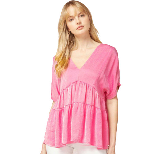 Women's Entro Textured Satin V-Neck Top Pink Front