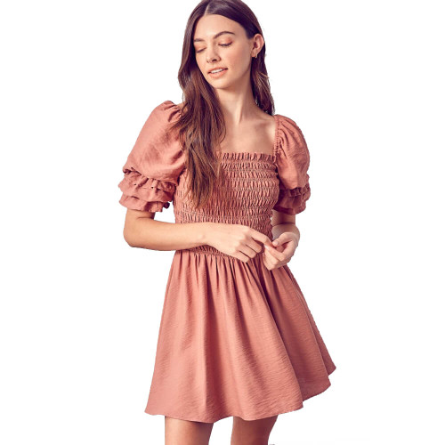 Women's Do+Be Square Neck Smocked Dress Amber Front
