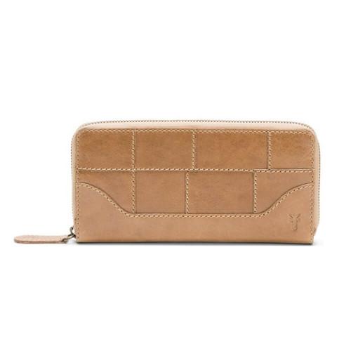 Frye Melissa Zip Leather Wallet Beige