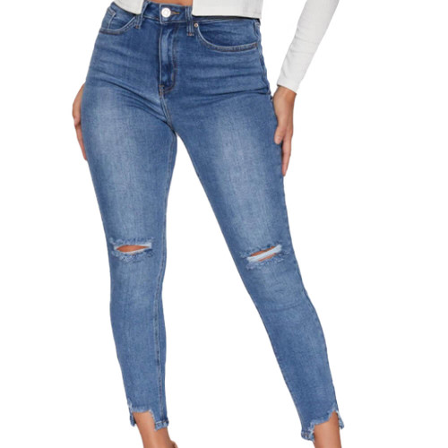 Women's YMI High Rise Slim Straight Ankle Jean Front