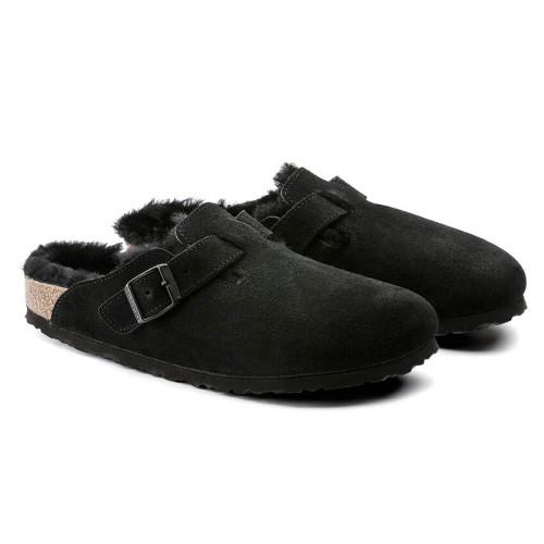 Women's Birkenstock® Boston Shearling Clog - Black Suede Leather
