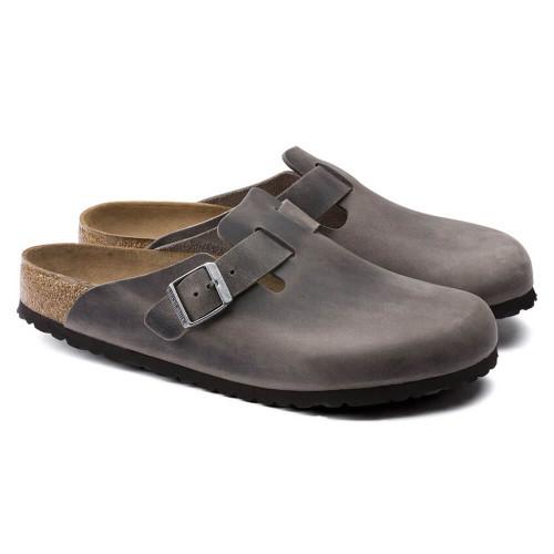 Men's Birkenstock Boston Soft Footbed - Iron Oiled Leather