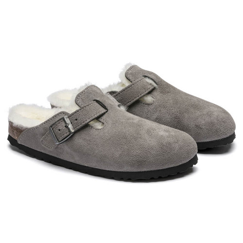 Women's Birkenstock® Boston Shearling Clog - Stone Coin Suede Leather