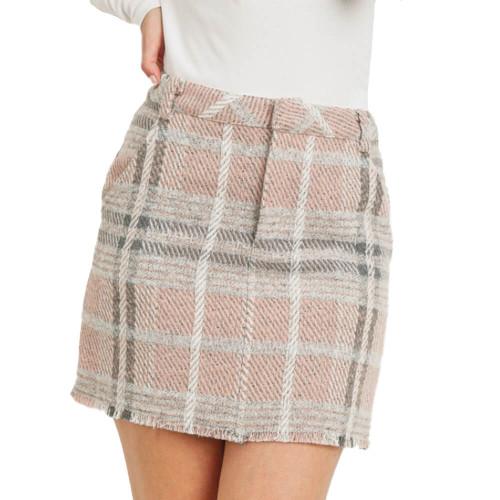 Women's Paper Crane Checkered Jacquard Skirt Front