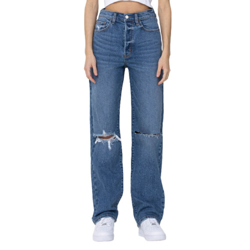 Women's Cello Super High Rise Destroyed Dad Jean Front