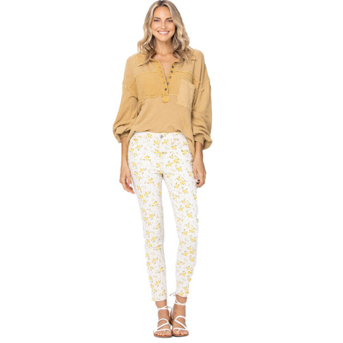 Women's Judy Blue Floral Print Midrise Skinny Jeans White Front