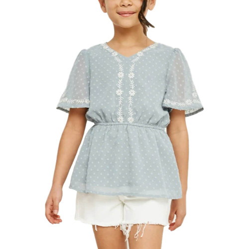 Girls' Hayden Floral Embroidered Swiss Dot Top Front