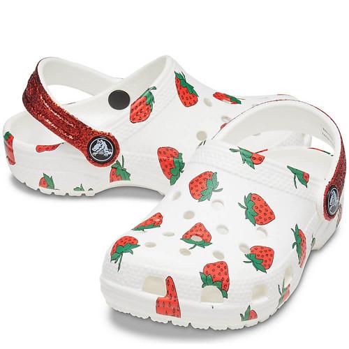 Girls' Crocs Classic Food Print Clog 100White