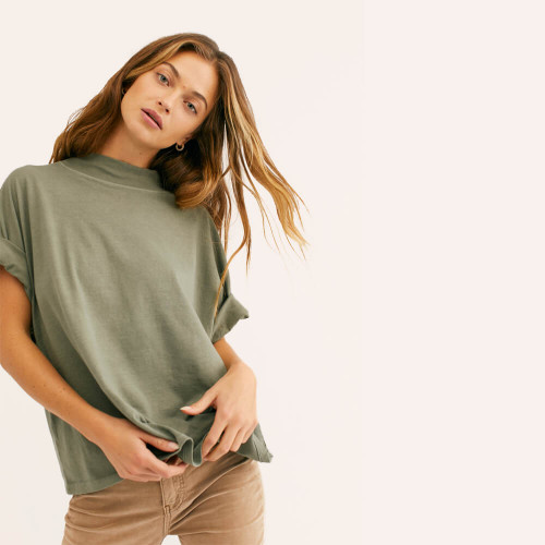 Women's Free People Fearless Tee Washed Army Front