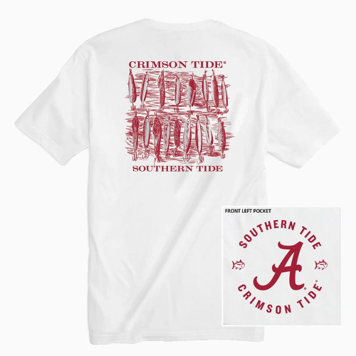 Men's Southern Tide Short Sleeve Gameday Lures Tee - White ALA01