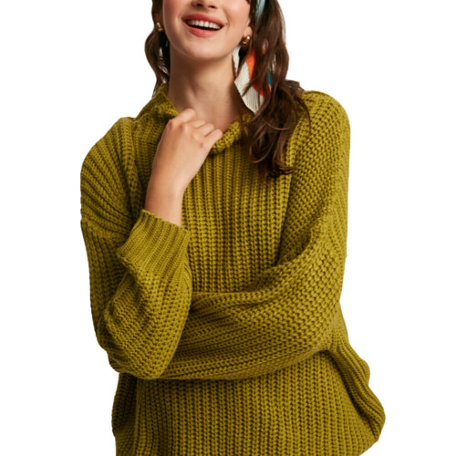Women's Listicle Mock Neck Knit Sweater Front