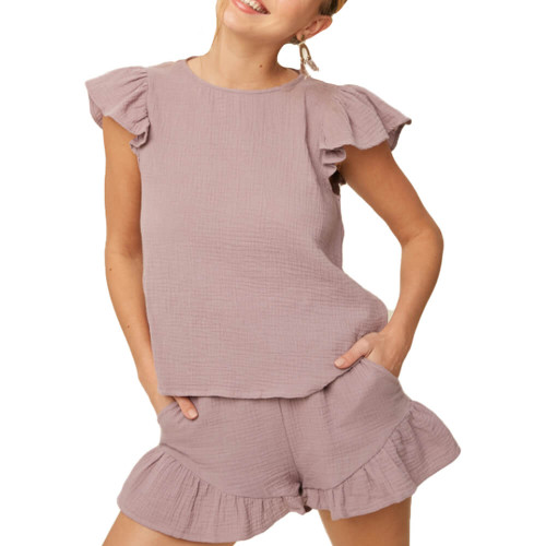 Women's Listicle Peplum Top and Short Set Front
