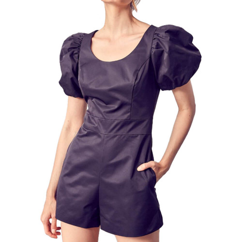 Women's DO+BE Round Neck Bubble Sleeve Romper - Black Front