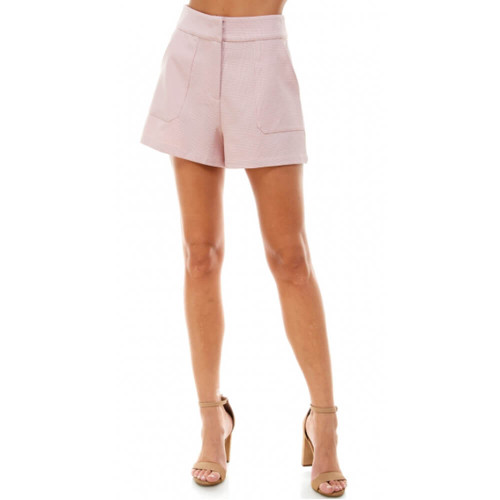 Women's TCEC Herringbone High Waisted Shorts Pink Front
