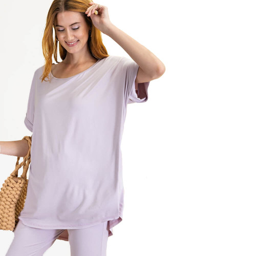 Women's Easel Loose Fit Lounge Top Dusty Lavender Front