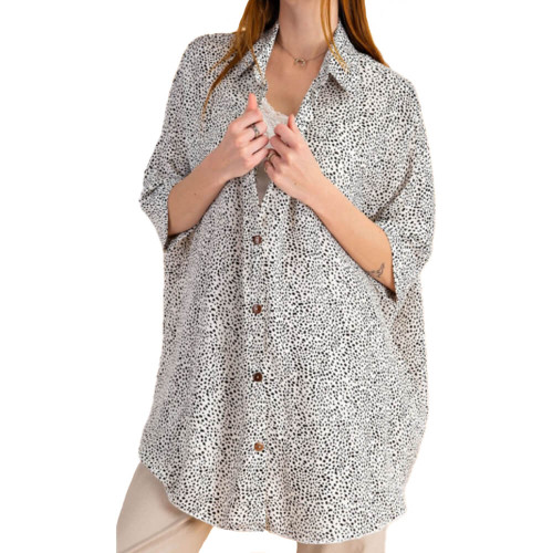 Women's Easel Printed Oversized Button Down Top